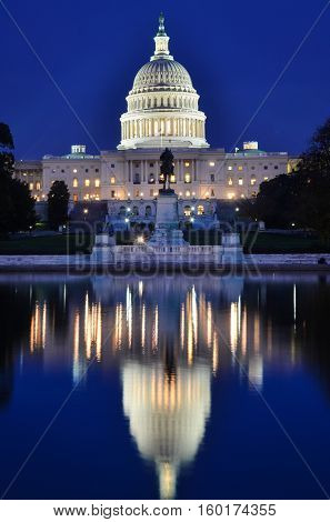 United States Capitol at night with reflection - Washington DC, USA