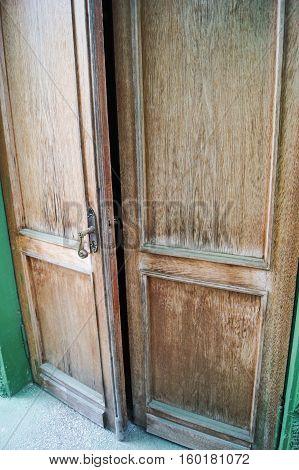 Old wooden door. Memorial History Museum in Sochi Stalin's Dacha.
