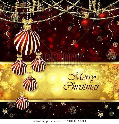 Vector Christmas card with Christmas balls, Christmas decor, snowflakes. Golden and red background.