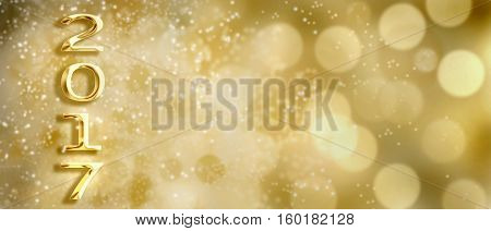 golden 2017 figures on bright bokeh background