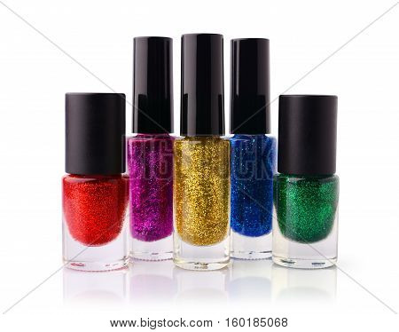 Set Of Multicolored Shiny Nail Polish With Glitter