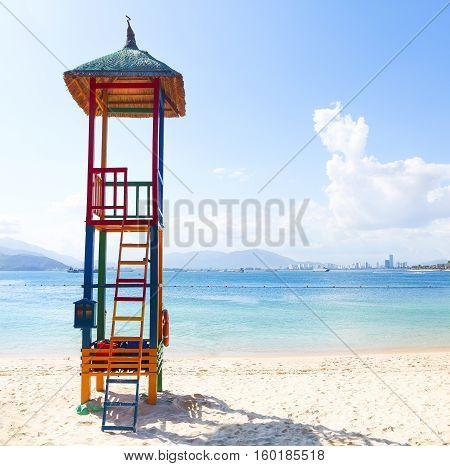 Open lifeguard tower on the beach Nha Trang Vietnam