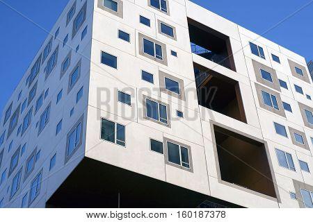 AARHUS DENMARK - NOVEMBER 24 2016: New modern apartment buildings with windows all over on the port of Aarhus November 24 2016