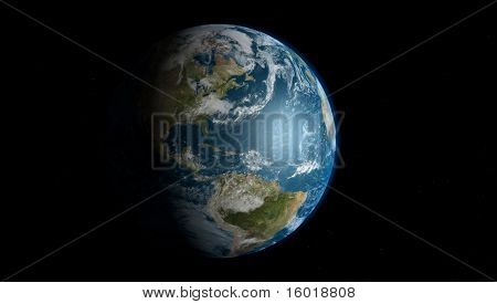The Earth With Starfield Background