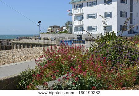 Seafront promenade with apartment buildings at Bognor Regis West Sussex England