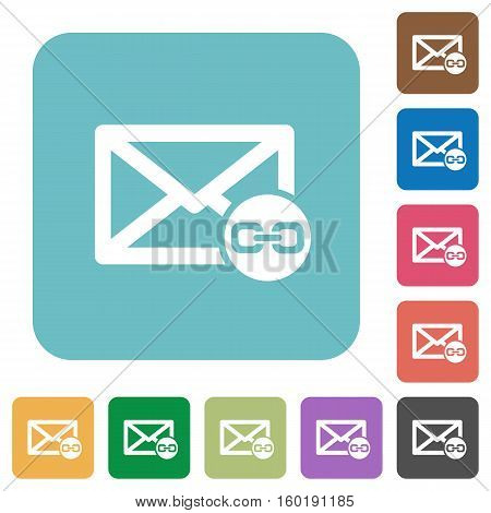 Mail attachment flat icons on simple color square background.