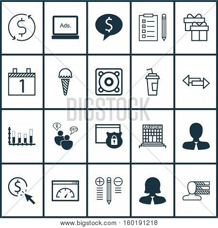 Set Of 20 Universal Editable Icons. Can Be Used For Web, Mobile And App Design. Includes Elements Such As Manager, PPC, Personal Skills And More.