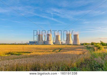 Thermal power plant, Czech Republic, blue sky