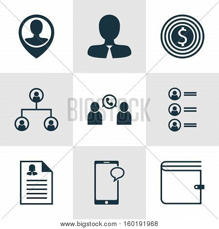 Set Of 9 Human Resources Icons. Can Be Used For Web, Mobile, UI And Infographic Design. Includes Elements Such As Female, Employee, Phone And More.