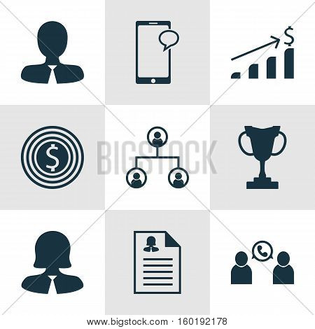 Set Of 9 Human Resources Icons. Can Be Used For Web, Mobile, UI And Infographic Design. Includes Elements Such As Success, Female, Chat And More.