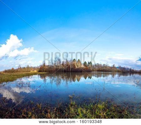 Panoramic landscape with forest and lake in sunny autumn day