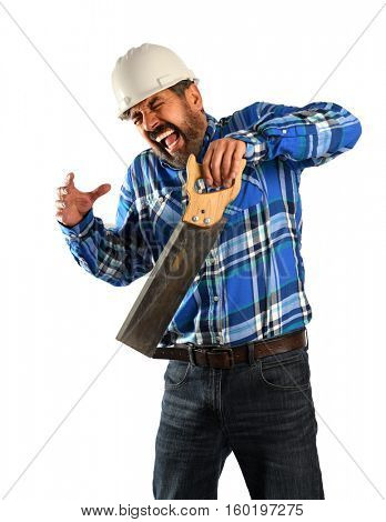Hispanic worker cutting hand with saw isolated over white background