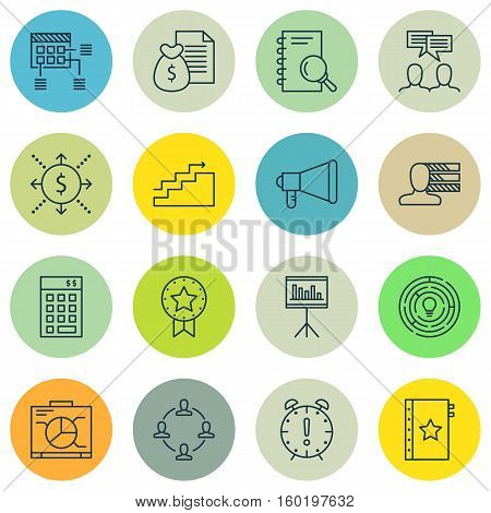 Set Of 16 Project Management Icons. Can Be Used For Web, Mobile, UI And Infographic Design. Includes Elements Such As Dashboard, Personal, Badge And More.
