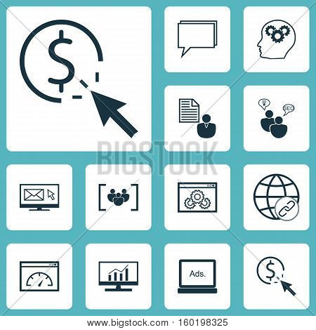 Set Of 12 SEO Icons. Can Be Used For Web, Mobile, UI And Infographic Design. Includes Elements Such As Focus, Businessman, Speed And More.