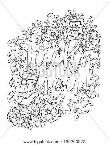 Antistress coloring book page design for adults with sailors mouth, swear word. Black and white illustration, monochrome contour. Vector illustration