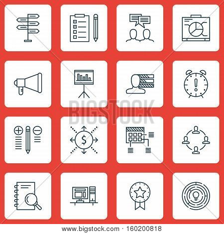 Set Of 16 Project Management Icons. Can Be Used For Web, Mobile, UI And Infographic Design. Includes Elements Such As Promotion, Personality, Money And More.
