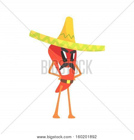 Mexican Bandit Red Hot Chili Pepper Humanized Emotional Flat Cartoon Character With Moustache Wearing Sombrero And A Belt. Funny Spicy Vegetable Flat Vector Emoji In Childish Manner.