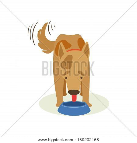 Brown Pet Dog Eating Dog Food, Animal Emotion Cartoon Illustration. Cute Realistic Active Hound Vector Character Everyday Life Scene Emoji.