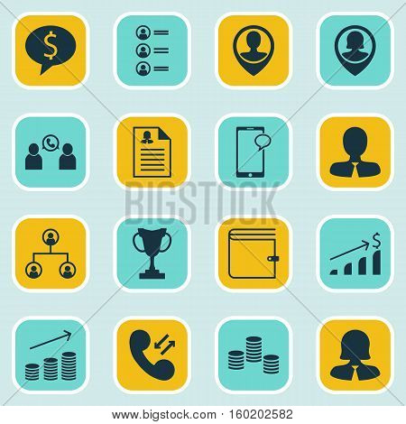 Set Of 16 Hr Icons. Can Be Used For Web, Mobile, UI And Infographic Design. Includes Elements Such As Wallet, Female, Pin And More.