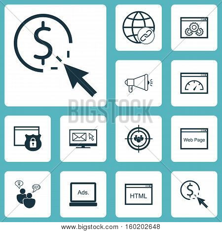 Set Of 12 Advertising Icons. Can Be Used For Web, Mobile, UI And Infographic Design. Includes Elements Such As Newsletter, Website, Marketing And More.