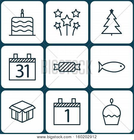 Set Of 9 Celebration Icons. Can Be Used For Web, Mobile, UI And Infographic Design. Includes Elements Such As Cupcake, Festive, Firework And More.