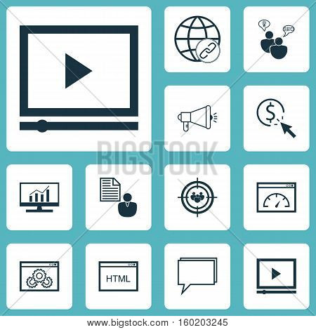 Set Of 12 Marketing Icons. Can Be Used For Web, Mobile, UI And Infographic Design. Includes Elements Such As Bulding, Brief, HTML And More.