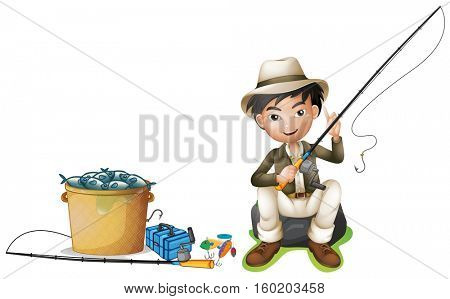 Man with fishing pole and bucket of fish illustration