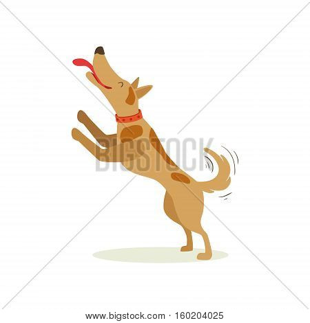 Brown Pet Dog Jumping Licking Face, Animal Emotion Cartoon Illustration. Cute Realistic Active Hound Vector Character Everyday Life Scene Emoji.