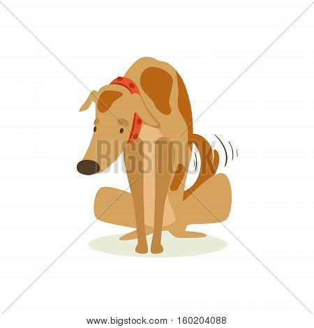 Guilty Brown Pet Dog Being Scolded , Animal Emotion Cartoon Illustration. Cute Realistic Active Hound Vector Character Everyday Life Scene Emoji.