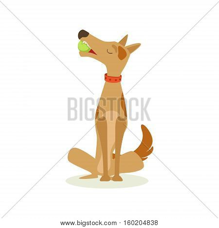 Brown Pet Dog Sitting With Gulf Ball In Mouth, Animal Emotion Cartoon Illustration. Cute Realistic Active Hound Vector Character Everyday Life Scene Emoji.
