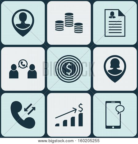 Set Of 9 Management Icons. Can Be Used For Web, Mobile, UI And Infographic Design. Includes Elements Such As Resume, Phone, Cellular And More.