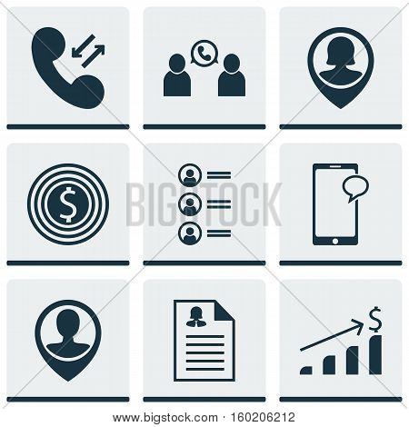 Set Of 9 Hr Icons. Can Be Used For Web, Mobile, UI And Infographic Design. Includes Elements Such As Applicants, Pin, Call And More.