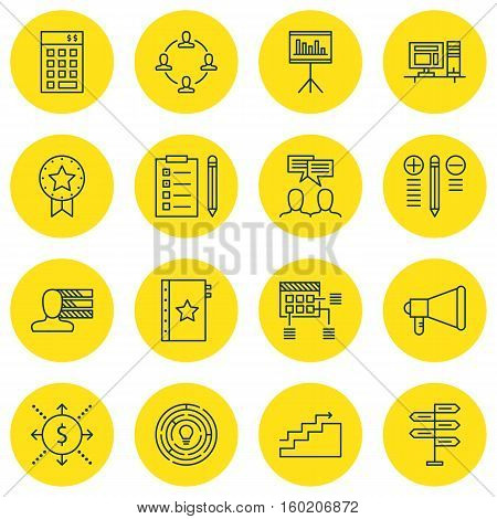 Set Of 16 Project Management Icons. Can Be Used For Web, Mobile, UI And Infographic Design. Includes Elements Such As Right, Chart, Schedule And More.