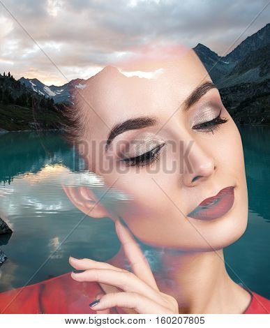 Double exposure portrait of young woman and nature landscape