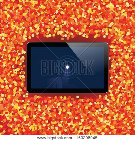Digital tablet with shiny sensor screen with touch hand on holiday event confetti spray background. Electronic smart device. Mobile gadget. Vector illustration