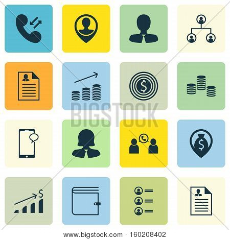 Set Of 16 Hr Icons. Can Be Used For Web, Mobile, UI And Infographic Design. Includes Elements Such As Wallet, Pin, Employee And More.