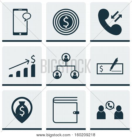 Set Of 9 Hr Icons. Can Be Used For Web, Mobile, UI And Infographic Design. Includes Elements Such As Phone, Mobile, Cash And More.