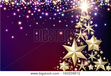 Purple luminous background with Christmas tree from stars. Vector illustration.