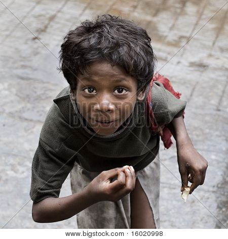 Hungry Indian child