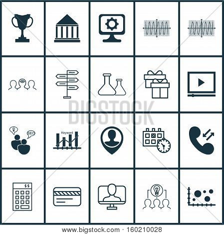 Set Of 20 Universal Editable Icons. Can Be Used For Web, Mobile And App Design. Includes Elements Such As PC, Keyword Optimisation, Coaching And More.