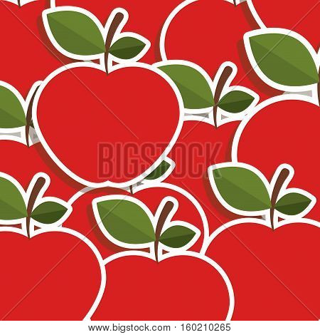 silhouette colorful pattern of apples with stem and leafs vector illustration