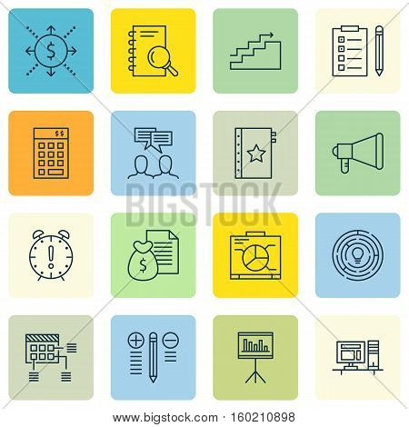 Set Of 16 Project Management Icons. Can Be Used For Web, Mobile, UI And Infographic Design. Includes Elements Such As Brainstorming, Date, Brainstorm And More.