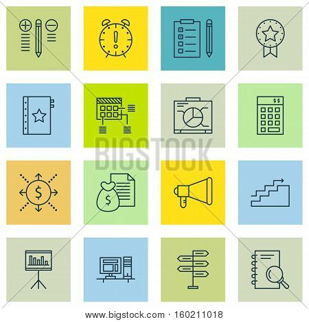 Set Of 16 Project Management Icons. Can Be Used For Web, Mobile, UI And Infographic Design. Includes Elements Such As Computer, Fork, Office And More.