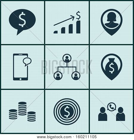 Set Of 9 Human Resources Icons. Can Be Used For Web, Mobile, UI And Infographic Design. Includes Elements Such As Map, Growth, Structure And More.