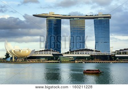 SINGAPORE - NOVEMBER 1: View of skyscrapers in Marina Bay on November 1 2012 in Singapore. Singapore is the world's fourth leading financial centre.