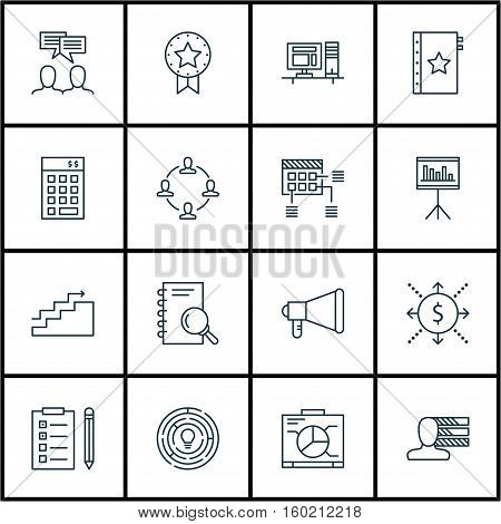 Set Of 16 Project Management Icons. Can Be Used For Web, Mobile, UI And Infographic Design. Includes Elements Such As Reminder, Investment, Office And More.