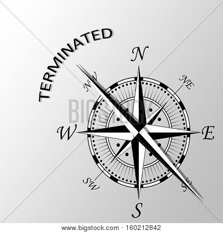 Illustration of Terminated word written aside compass