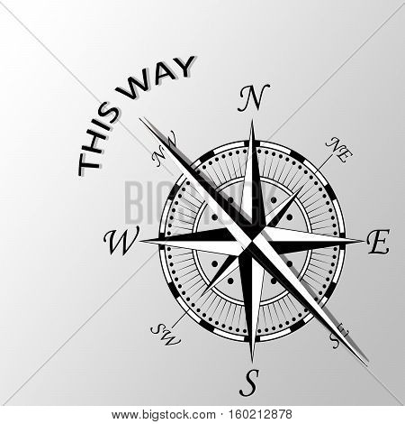 Illustration of this way written aside compass