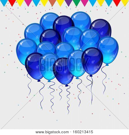 Birthday party background - colorful festive balloons, confetti, ribbons flying for celebrations card in isolated white background with space for you text.