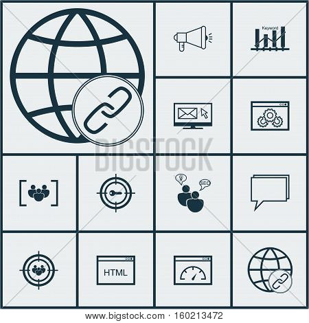 Set Of 12 Marketing Icons. Can Be Used For Web, Mobile, UI And Infographic Design. Includes Elements Such As Optimization, Email, SEO And More.